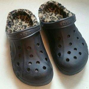 Leopard Fur Lined Crocs